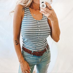 American Eagle Blue Stripped Tank Top